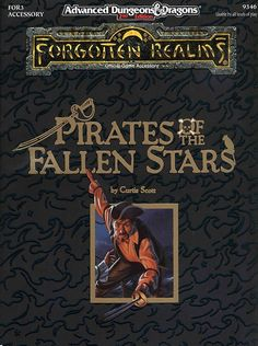 FOR3 Pirates of the Fallen Stars (2e) - Forgotten Realms | Book cover and interior art for Advanced Dungeons and Dragons 2.0 - Advanced Dungeons & Dragons, D&D, DND, AD&D, ADND, 2nd Edition, 2nd Ed., 2.0, 2E, OSRIC, OSR, d20, fantasy, Roleplaying Game, Role Playing Game, RPG, Wizards of the Coast, WotC, TSR Inc. | Create your own roleplaying game books w/ RPG Bard: www.rpgbard.com | Not Trusty Sword art: click artwork for source