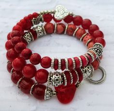 Red and Silver Hearts Memory Wire Bracelet by BlooMoonJewelry