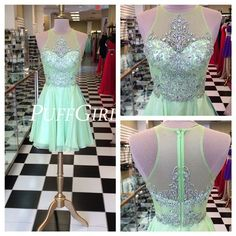 Mint Green Illusion Cocktail Party Dress With Beaded Bodice