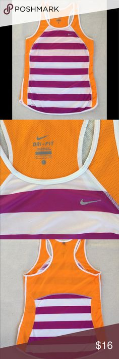 Nike Dri-Fit Tank.  Size Small. Nike Dri-Fit tank.  Great bright colors.  15 1/2 in pit to pit.  24 in long.  EUC! Nike Tops Tank Tops