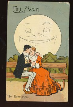 """Have one to sell? Sell it yourself    ~Cute~""""FULL-MOON"""" MAN & LADY ROMANTIC HONEYMOON Antique POSTCARD-ddd920"""
