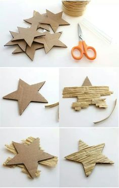 """Diy christmas crafts 616641373948649721 - """"Lines Across"""": Textured Star Ornaments Source by dagmarullmannov Easy Ornaments, Star Ornament, Dough Ornaments, Homemade Ornaments, Homemade Christmas Decorations, Diy Christmas Ornaments, Holiday Decorations, Decoration Crafts, Decoration Party"""