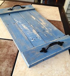 Wood Pallet Serving Tray Denim Blue by SignedByBradley on Etsy
