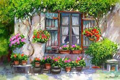 Flower Window, Painted Cottage, Illustration Art, Illustrations, Italian Artist, Art Oil, Art Techniques, Landscape Art, Art Lessons