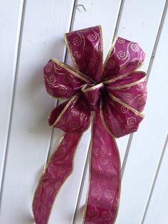 Burgundy gift bow wreath maroon wedding pew by ilPiccoloGiardino