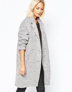 Selected Lifa Ovoid Coat In Flecked Wool