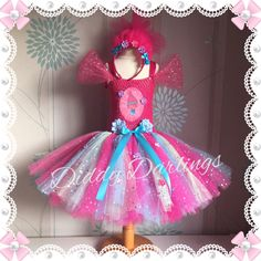 Sparkly Princess Poppy Tutu Dress. Trolls Tutu Dress.Inspired Handmade Dress.All Sizes Fully Customised Any Characters Or Colours. by DiddyDarlings on Etsy