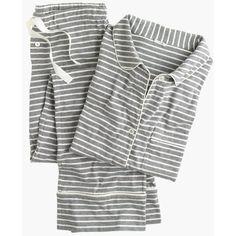 J.Crew Dreamy Cotton Pajama Set ($105) ❤ liked on Polyvore featuring intimates, sleepwear, pajamas, long sleeve sleepwear, cotton pajama set, cotton sleepwear, cotton pajamas and j crew pajamas