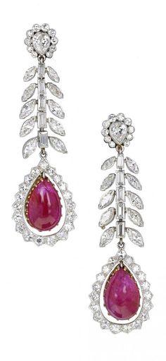 A pair of Art Deco platinum, Burmese ruby and diamond earrings, Ruby Jewelry, Pink Jewelry, Ruby Earrings, Art Deco Earrings, Art Deco Jewelry, Modern Jewelry, Diamond Jewelry, Jewlery, Diamond Solitaire Earrings