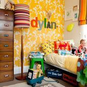 Eclectic, colourful kids room