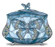 Louis Comfort Tiffany-Style Beauty Takes Wing Collectible Butterfly Music Box by Ardleigh Elliott