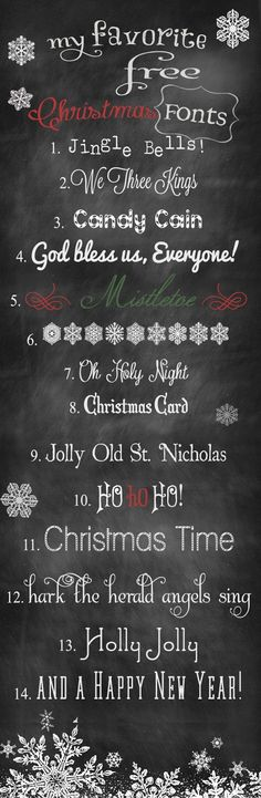 Favorite Free Christmas Fonts: via We Lived Happily Ever After Holiday Fonts, Christmas Fonts, Noel Christmas, Christmas Printables, All Things Christmas, Christmas Letters, Christmas Skirt, Christmas Chalkboard, Christmas Banners