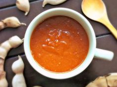 This Tamarind-Chipotle Sauce is a great spicy substitute for ketchup.  (Recipe in Spanish.) QueRicaVida.com