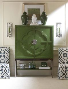 Chin Hua Lotus Bar Cabinet, many finishes available, but this Jade is … - Modern Green Cabinets, Modern Cabinets, Furniture Catalog, Furniture Collection, Painted Furniture, Furniture Design, Chinese Furniture, Asian Furniture, Decoration