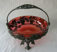Pairpoint Quadruple Plate Coffee Service | Antique Red Strawberry Pattern Silverplate Hndld Basket Completed