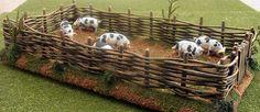 Wattle and Daub Pigpen Wattle And Daub, Wattle Fence, Viking Village, Farm Day, Farmhouse Paint Colors, Train Table, Ceramic Houses, Model Train Layouts, Barbie Accessories