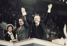 1976 ELECTION - Sen. Robert Dole, center, his mother Bina Dole, left, and Pres. Gerald Ford shown on the final night of the Republican National Convention in Kemper Arena, Aug. 19, 1976, Kansas City, Mo.