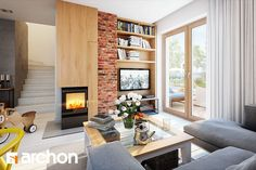 Dom w rododendronach 11 House Design, Brick Wall Living Room, Living Room, Interior Architecture, Home, Home Diy, Small Living Rooms, Home Decor, Small Living
