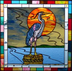 Classic Glass Studios - Stained Glass Panels, Page 7 heron Stained Glass Quilt, Stained Glass Birds, Stained Glass Designs, Stained Glass Panels, Stained Glass Projects, Stained Glass Patterns, Mosaic Art, Mosaic Glass, Painting On Glass Windows
