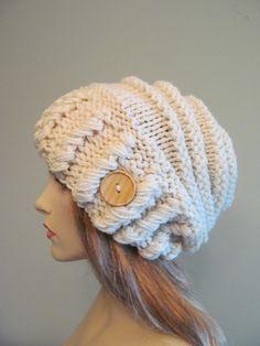 Cream Oversized Winter Hat Slouchy Beanie via Etsy