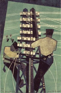 Lill Tschudi, Fixing the Wires, 1932 (color linocut), found @ 50 Watts Linocut Prints, Poster Prints, Art Prints, Block Prints, Posters, Jackson's Art, Wood Engraving, Gravure, Art Plastique