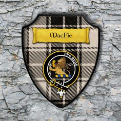 MacFie Shield Plaque with Scottish Clan Coat of Arms Badge on Clan Plaid Tartan Background Wall Art by YourCustomStuff on Etsy https://www.etsy.com/listing/549754940/macfie-shield-plaque-with-scottish-clan