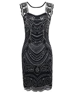 PrettyGuide Women's 1920s Embroidery Sequin Deco Cocktail Gatsby Flapper Dress S Black