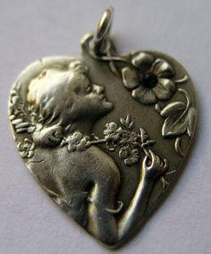 Antique Art Nouveau Silver Floral Woman Profile Heart Charm Init G K