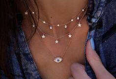 14kt gold and diamond baguette eye necklace – Luna Skye