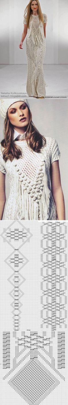 Mejores 131 imágenes de Vestidos Tejidos a dos agujas en Pinterest ...