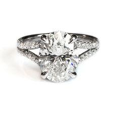 Fink's Platinum Oval Cut Diamond Split Shank Engagement Ring - Fink's Jewelers