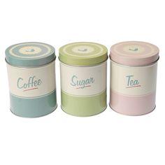 Pantry Design Set Of Tea Coffee Sugar Tins | DotComGiftShop
