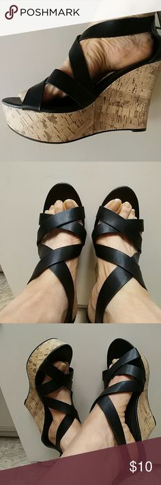 New Express black wedge sandal shoes size 9 Corked wedge shoes with black leather straps and a buckle come together to make this a very sexy summer shoe and best of all new never worn! Express Shoes Wedges