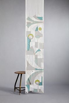 """""""Jazz in Green and Blue"""" - Schmuckband/Vorhang mit aufwändigem Design. Jedes Stück ist ein Unikat. www.unikatessen-berlin.de"""