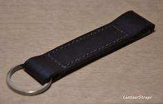 Handmade black leather keychain leather key fob by CentaurStraps