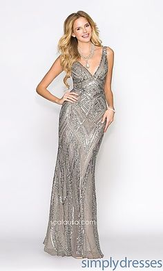 V-Neck Open Back Sequin Formal Gown at SimplyDresses.com the LEAD colour really caught my eye