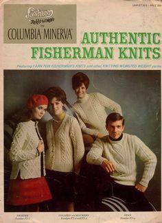 Columbia Minerva 2514 Authentic Fisherman Knits Knitting Patterns 4 Designs 1968 #ColumbiaMinerva #KnittingPatterns