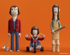 The Torrence's from The Shining! Amazing vinyl toys of Bill Murray, Mighty Boosh, IT Crowd, The Shining & Christopher Walken It Crowd, Bill Murray, Toy Art, Stanley Kubrick, The Shining, Carrie, Vinyl Figures, Action Figures, Pop Figures