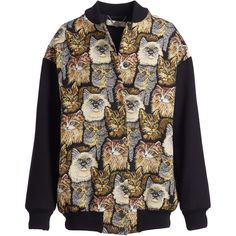 Stella McCartney Cat-Embroidered Bomber Jacket ($1,920) ❤ liked on Polyvore featuring outerwear, jackets, cat bomber jacket, long sleeve jacket, bomber style jacket, cat jacket and embroidered jacket