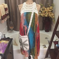 BOHO Tank Dress w/Crochet Bodice Neckline M Colorful Tank Dress perfect for Summer Charming Charlie Dresses