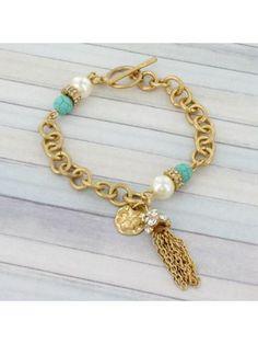 Goldtone Tassel Toggle Bracelet