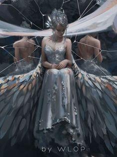 Robe argentée si fluide qu'on aurait dit que le métal coulait sur sa peau. Deux immenses ailes de tissus tombaient de ses épaules, serties de plumes irrisees comme autant de diamants.