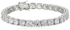 Sterling Silver Round Cut 6mm Cubic Zirconia Tennis Bracelet >>> More info could be found at the image url.