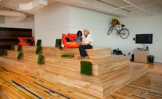 """Love this flexible space. Green pillows kinda read like bushes. """"Gaining Savings and Productivity From Smaller Offices"""" - NYTimes.com #coworking"""