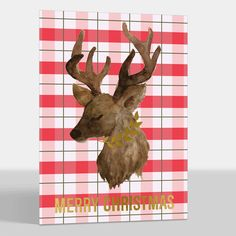 Red Plaid Deer Foil