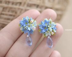 Forget me not stud earrings, Forget me not studs, Myosotis flowers earrings, flower stud earrings, blue flowers, clay flowers, fimo flower