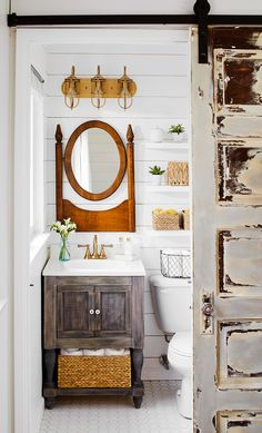 A small master bathroom update with white subway tile and new gold shower fixtures from Delta Faucet. Modern Bathroom, Amazing Bathrooms, Bathroom Makeover, Round Mirror Bathroom, Modern Bathroom Vanity, Tile Bathroom, Master Bathroom Shower, Bathroom Sink Design, Rustic Modern Bathroom