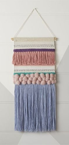 Texture Woven Wall Hanging: brings an array of lovely hues to kids rooms, playrooms or any space that could use a little more color. It was handmade from wool and cotton for a beautifully textured look with plenty of charm Crochet Wall Hangings, Weaving Wall Hanging, Weaving Art, Loom Weaving, Tapestry Weaving, Hand Weaving, Tapestry Wall Hanging, Art Wall Kids, Wall Art