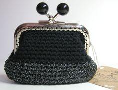 Monedero ganchillo negro y plateado / Nàiades - Artesanio