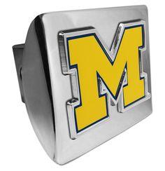 "University of Michigan Yellow """"M"""" Shiny Chrome Hitch Cover"